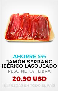 AHORRE 5 %. Jamón Serrano Ibérico Lasqueado, Peso Neto: 1 libra (455 gramos)