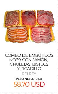 Combo de Embutidos No.39, con Jamón, Chuletas, Bistecs y Picadillo, Peso Neto Total Aproximado: 10 Lb