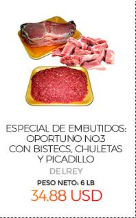 Especial de Embutidos: Oportuno No.3, con Bistecs, Chuletas y Picadillo , Peso Neto Total Aproximado: 6 Lb