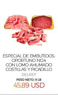 Especial de Embutidos: Oportuno No.4, con Lomo Ahumado, Costillas y Picadillo , Peso Neto Total Aproximado: 9 Lb