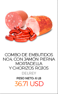 Combo de Embutidos No.4, con Jamón Pierna, Mortadella y Chorizos Rojos, Peso Neto Total Aproximado: 6 Lb