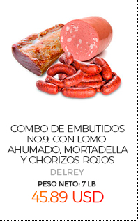 Combo de Embutidos No.9, con Lomo Ahumado, Mortadella y Chorizos Rojos, Peso Neto Total Aproximado: 7 Lb