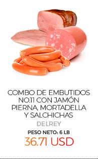 Combo de Embutidos No.11, con Jamón Pierna, Mortadella y Salchichas, Peso Neto Total Aproximado: 6 Lb