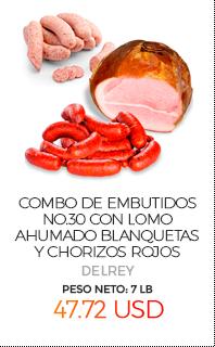 Combo de Embutidos No.30, con Lomo Ahumado, Blanquetas y Chorizos Rojos, Peso Neto Total Aproximado: 7 Lb