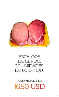 Escalope de Cerdo. 20 unidades de 90 gr c/u. Peso Neto: 4 Lb (1.8 Kg)