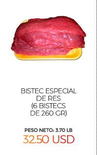 Bistec Especial de Res (6 bistecs de 260 gr, 1560 gr total)