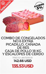 AHORRE 5 %. Combo de Congelados No.6 EXTRA. Picadillo y Cañada de Res, Caja de Pollo 18 Kg y Escalopes de Cerdo