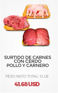 Surtido de Carnes, con Cerdo, Pollo y Carnero, Peso Neto Total (aproximado): 12Lb