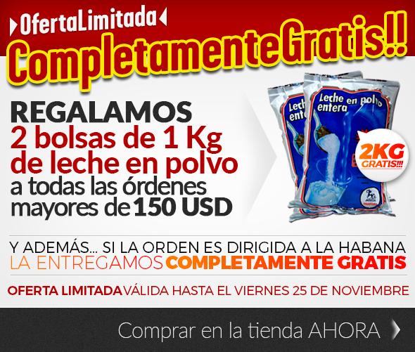 Regalamos dos bolsas de 1Kg de leche en polvo a todas las órdenes de más de 150 usd!!!! Solo hasta el viernes 25 de Noviembre!!!!
